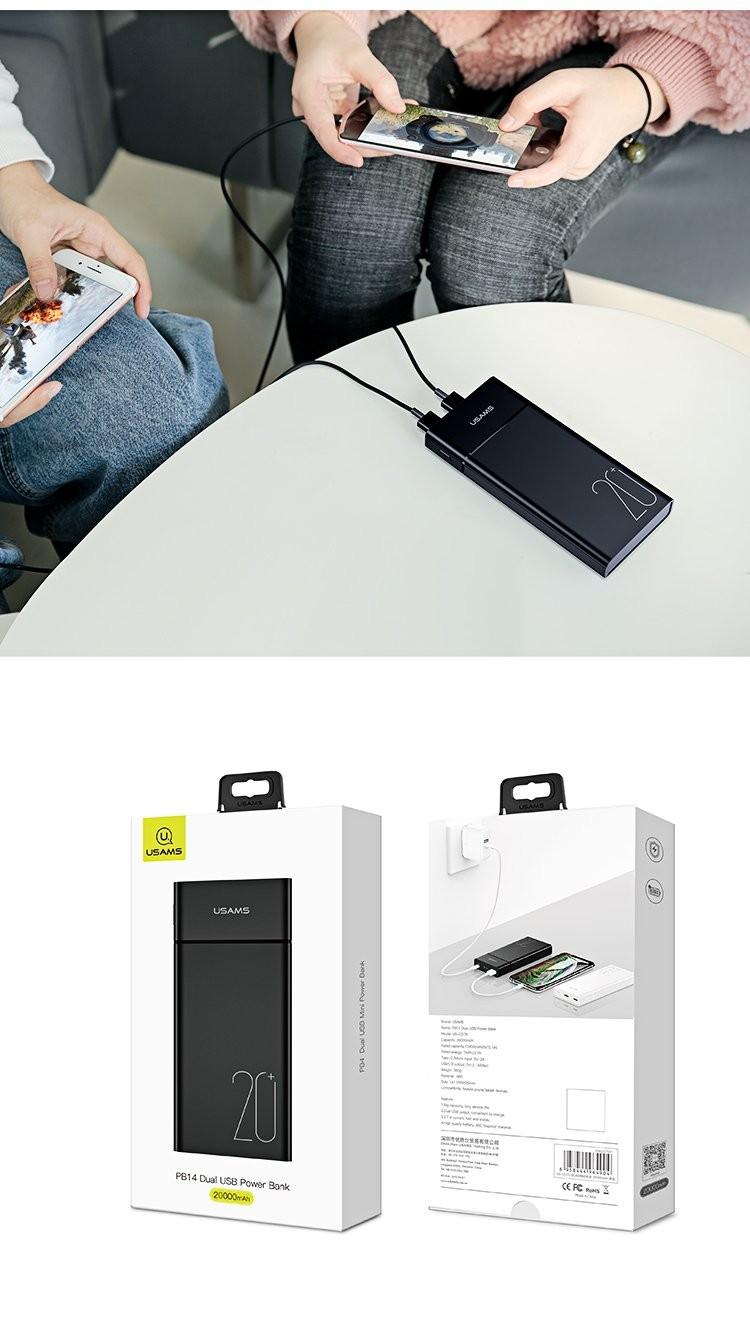 Powerbank USAMS PB14 Dual USB 20.000mAh Hitam 21000353