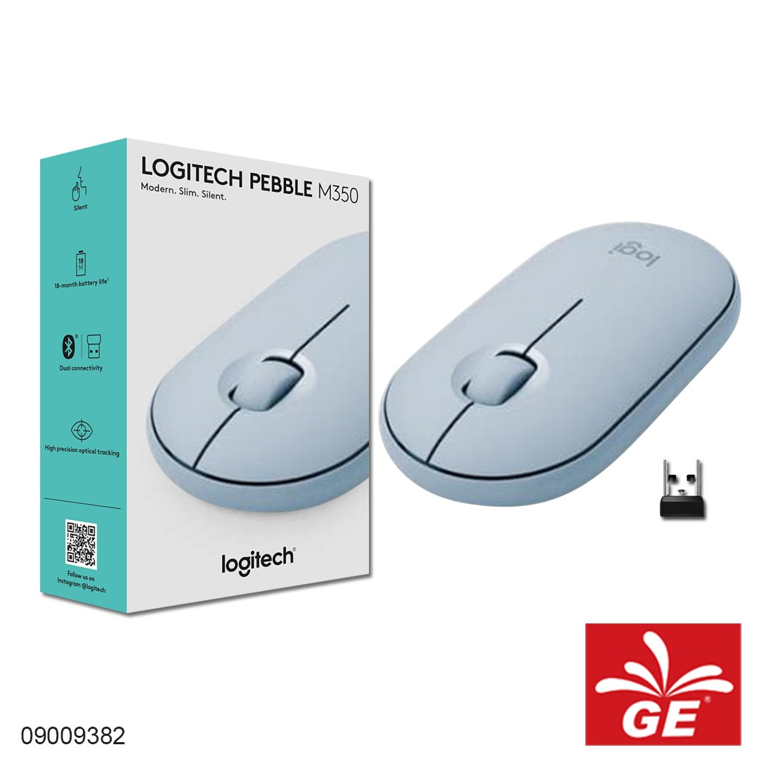 Mouse Wireless LOGITECH PEBBLE M350 Tanpa Suara Biru 09009382