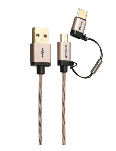 Kabel Data VERBATIM 65292 2in1 Type-C+Micro 1.2M Emas 09009197
