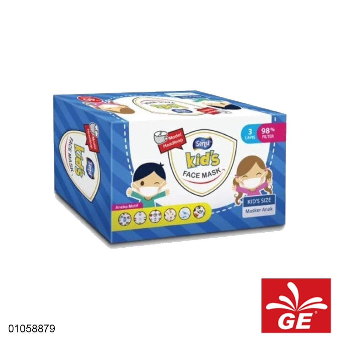 Masker Medis SENSI Kids Headloops 98% Filter 3Ply