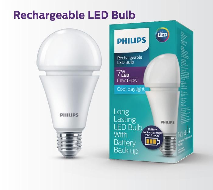 Lampu Bohlam LED PHILIPS Rechargeable LED Blub Cool Daylight E27