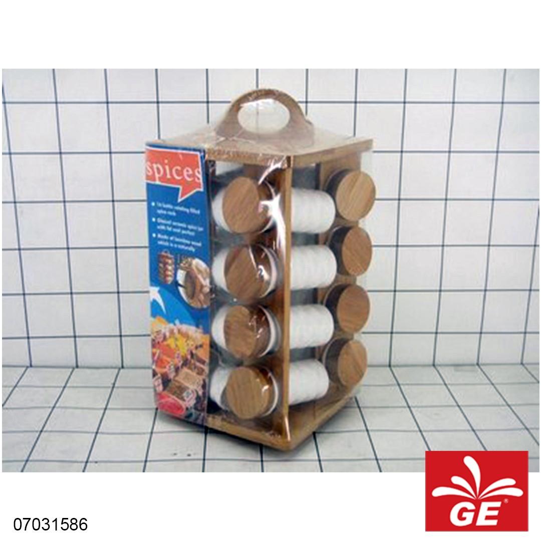 Tempat Bumbu Kayu Keramik 16pcs 07031586