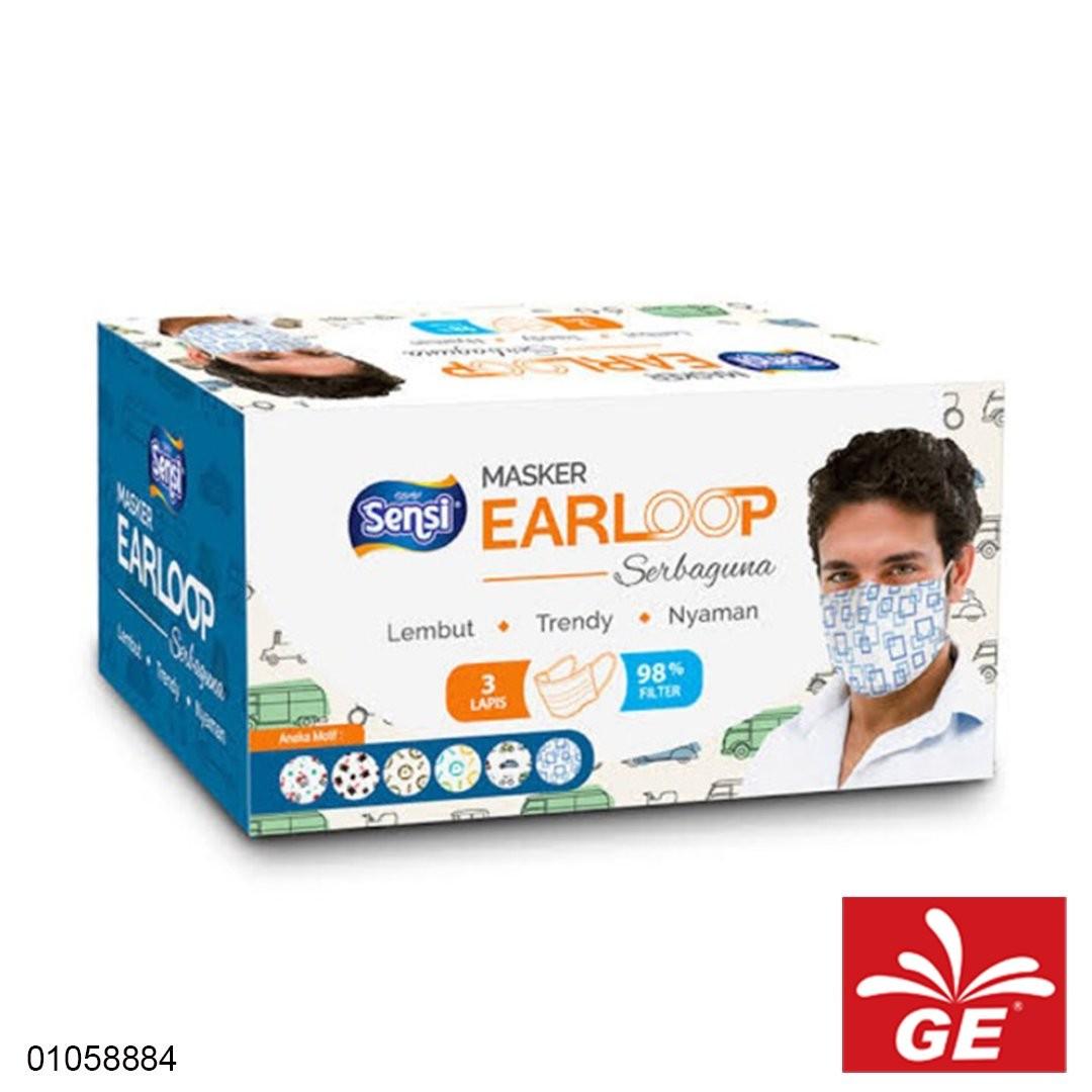 Masker Medis SENSI Earloops Mask 3Ply Bermotif