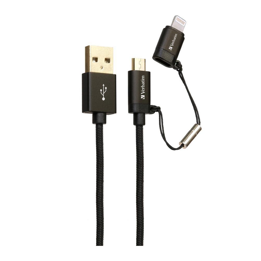 Kabel Data VERBATIM 65362 2in1 Micro+Lightning 1.2M Hitam