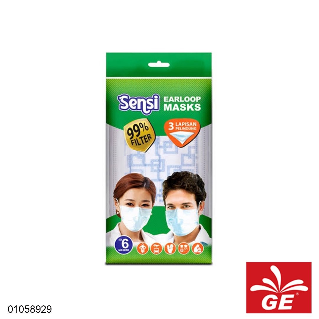Masker Medis SENSI Earloops Mask 3Ply Bermotif 6pcs