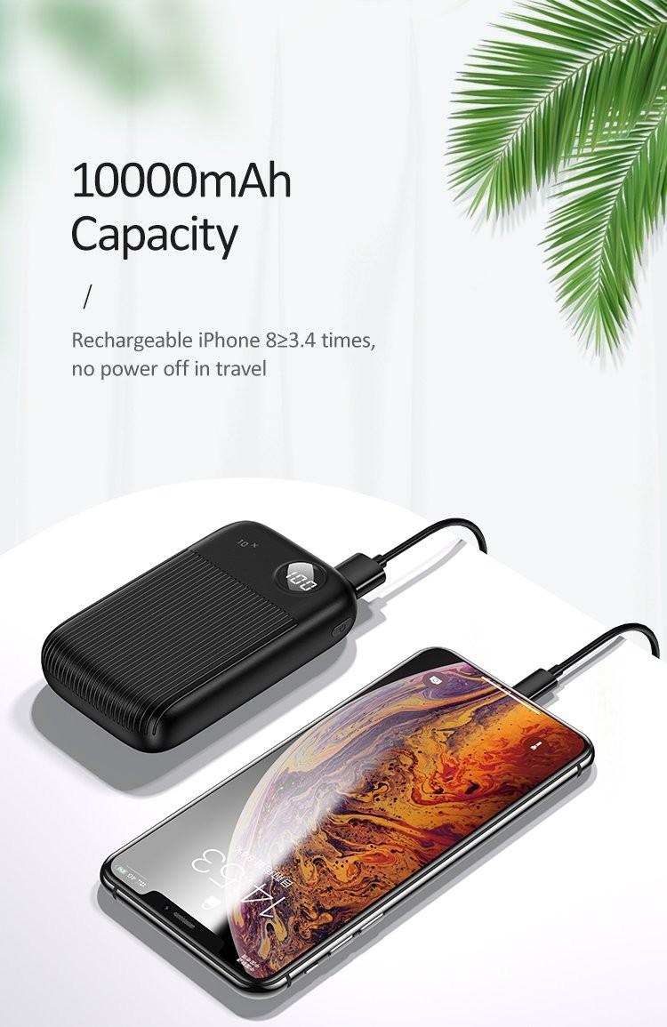 Powerbank USAMS PB29 Dual USB Digital 10.000mAh Hitam 21000346