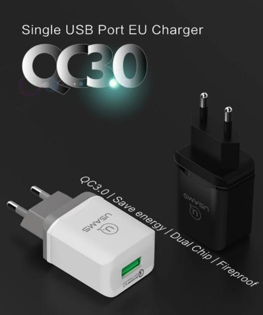 Adaptor USAMS US-CC024 Travel Charger EU Qualcomm 3.0 Putih/Hitam