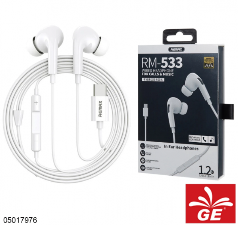 Earphone REMAX RM-208 Wired Headphone For Calls & Music Type-C