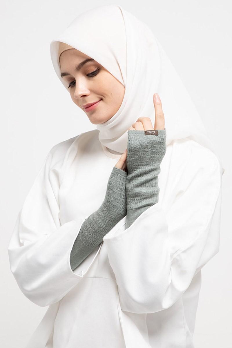 Long Handsocks Knitting Overset Grey