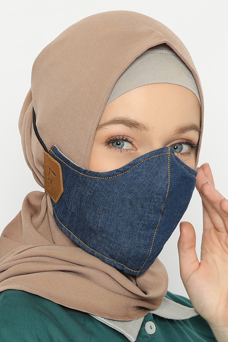 Comte Denim Face Mask Dark Blue