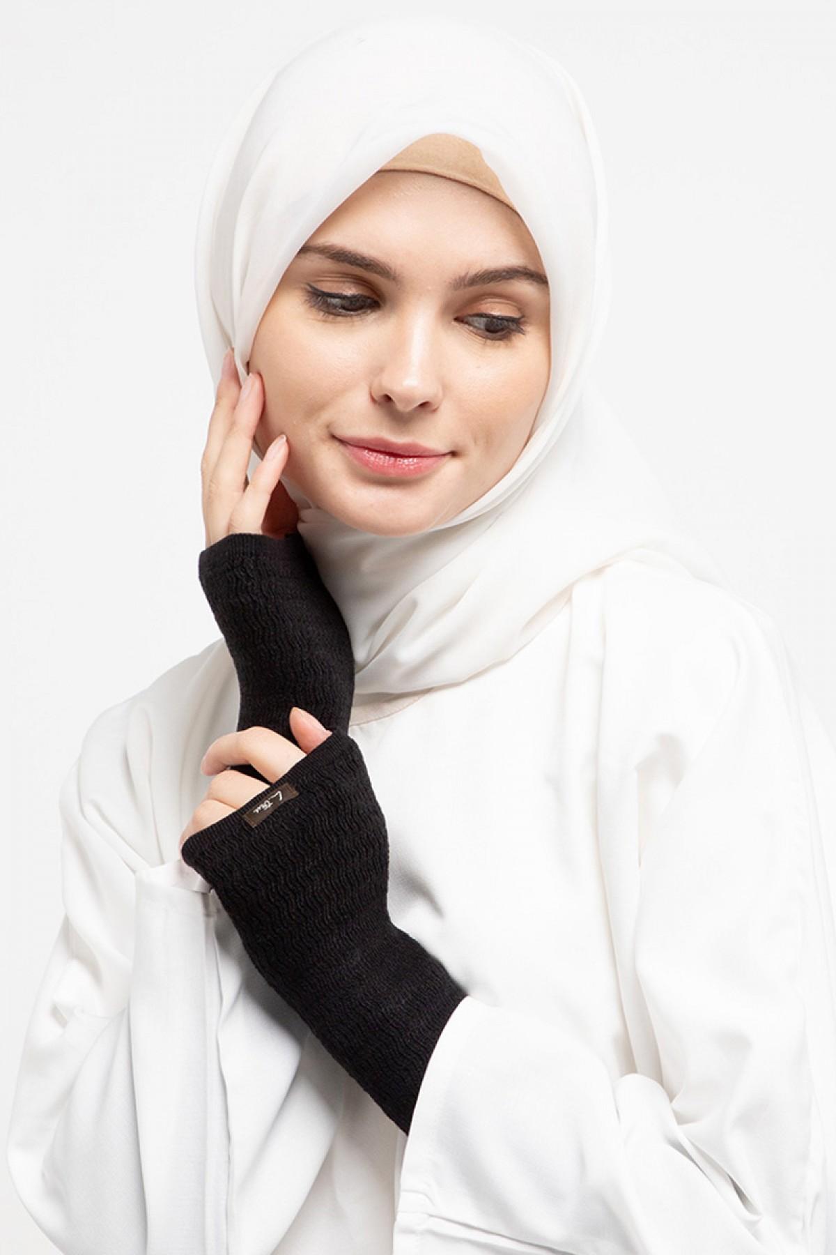 Long Handsocks Knitting Overset Black - L.tru