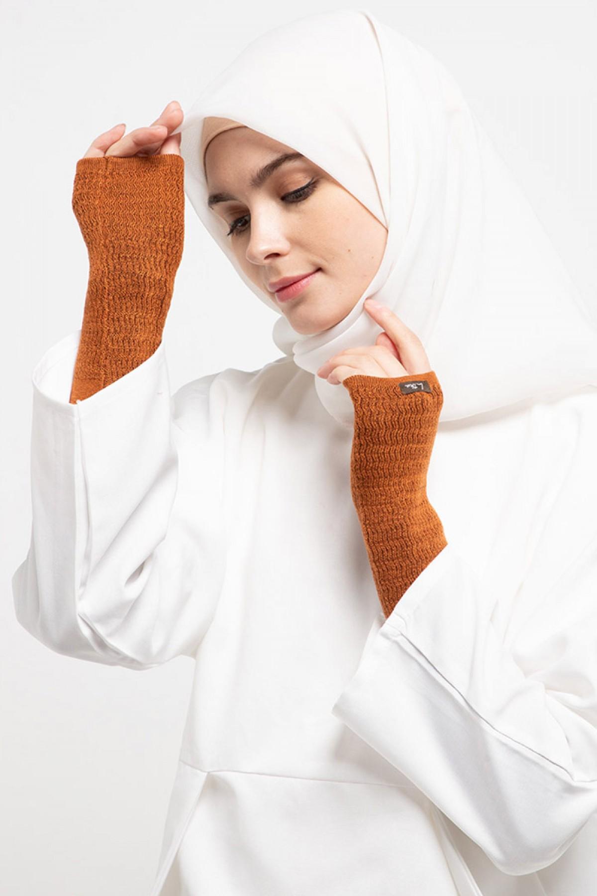 Long Handsocks Knitting Overset Terracota - L.tru