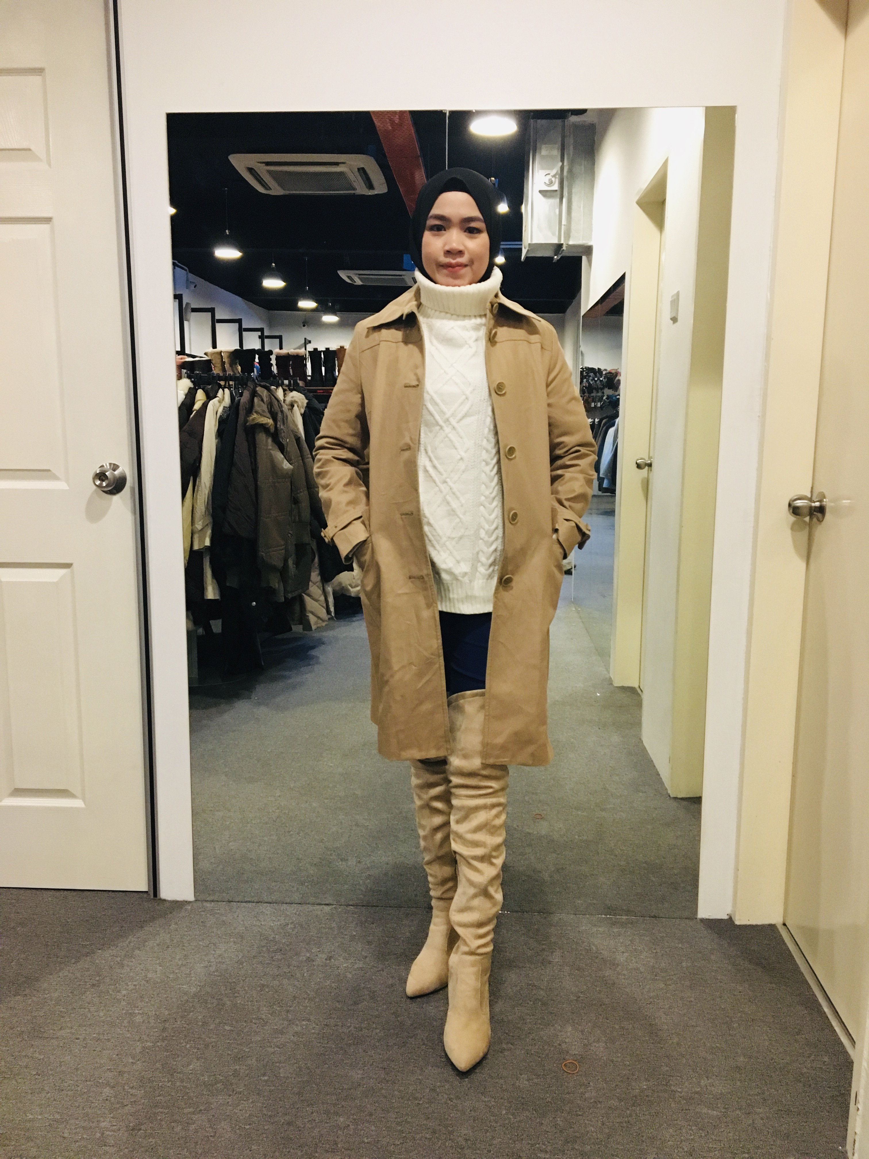 BJ0991 KHAKI TRENCH COAT