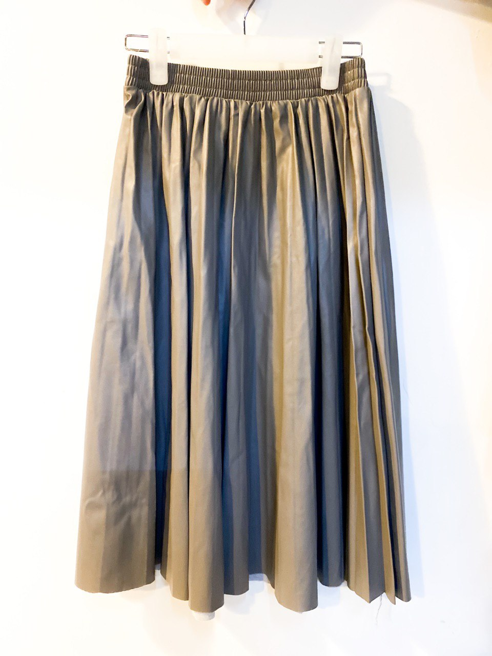 Women High-Waist Pleated Pu Leather Skirts Casual
