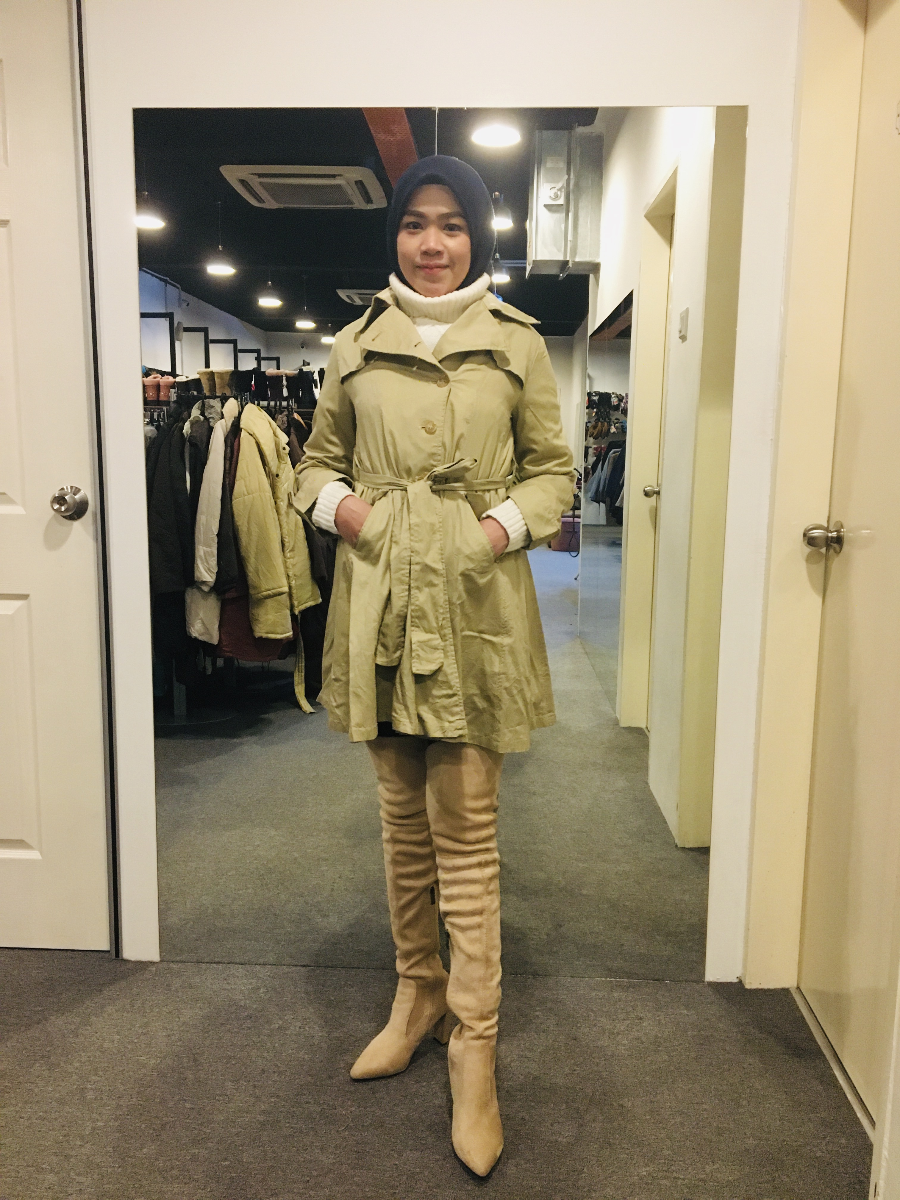 BJ0840 OLIVE TRENCH COAT