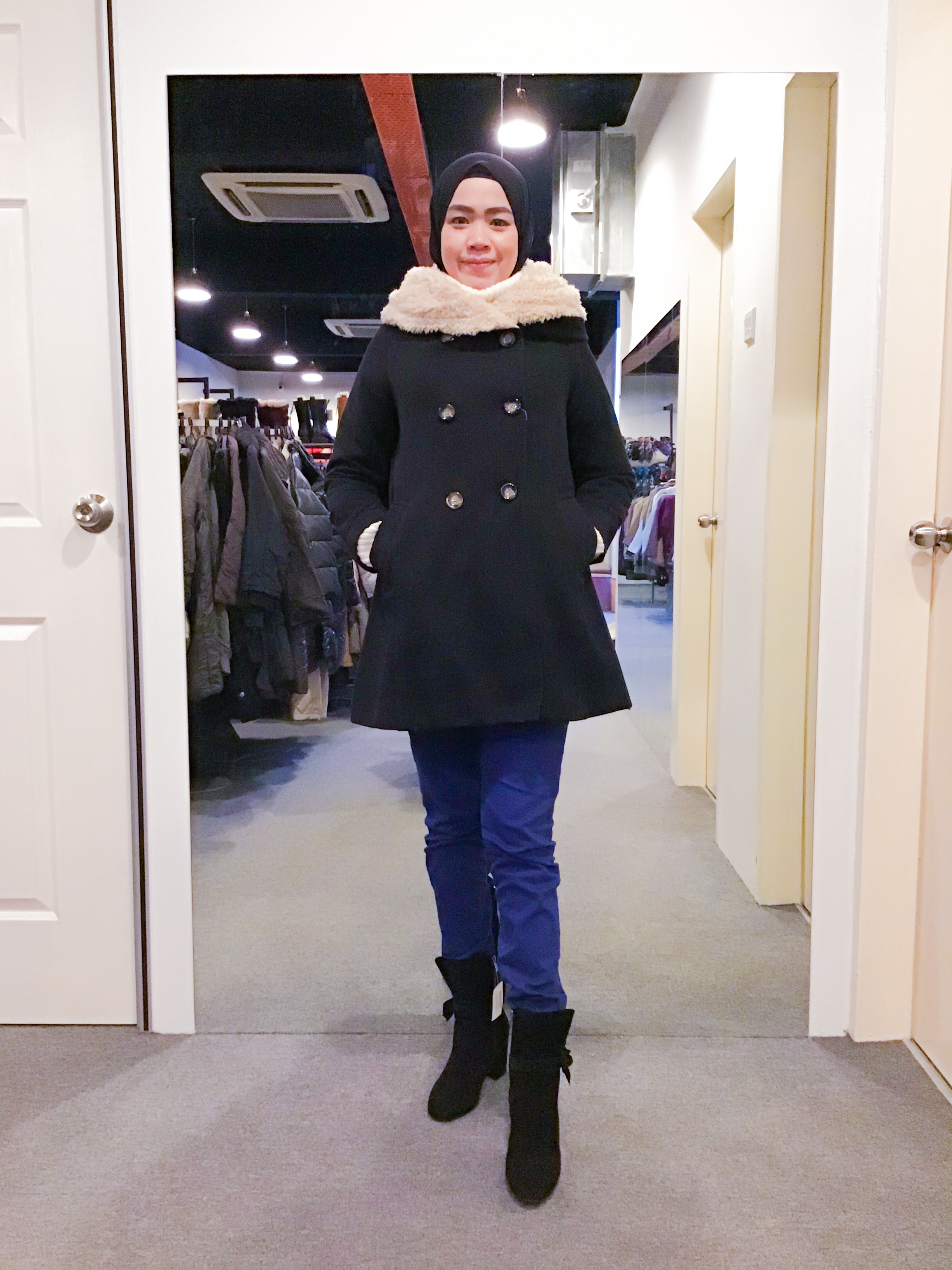 BJ1081 BLACK WOOL COAT