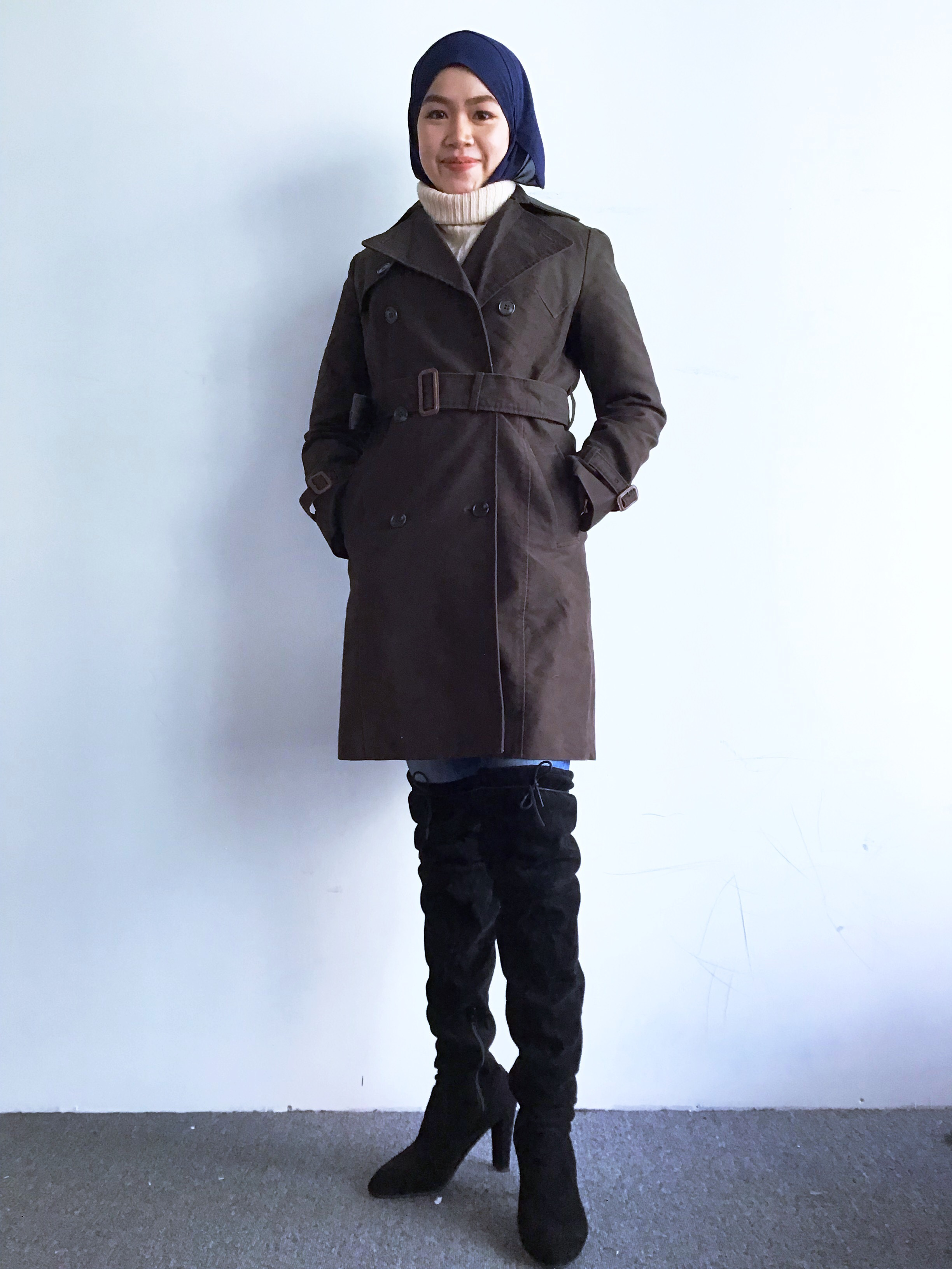 BJ0221 MARBLE INK TRENCH COAT
