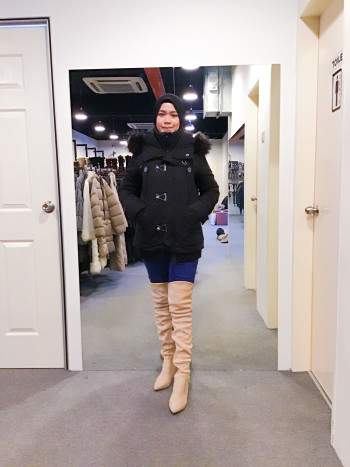 BJ0924 NAVY NATURAL WINTER JACKET - Bundle Preloved