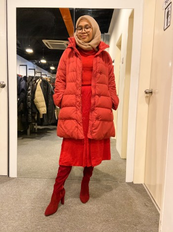 BJ0538 uniqlo red down jacket