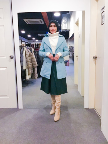 BJ1299 BABY BLUE TRENCH COAT