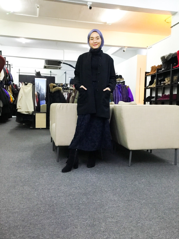 BP6594 BLACK WOOL COAT  - Bundle Preloved