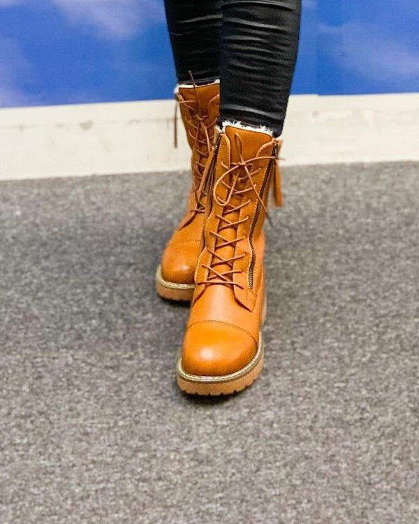 SNPU280 PU LEATHER HIGH BOOTS SNOW (NEW) - Bundle Preloved