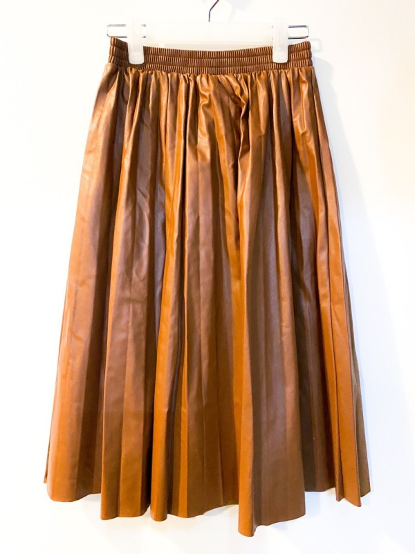 Women High-Waist Pleated Pu Leather Skirts Casual - Bundle Preloved
