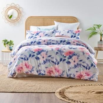 Pink Flora Quilt Cover Set KING