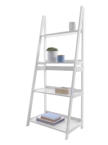 4 Tier Ladder Shelf White