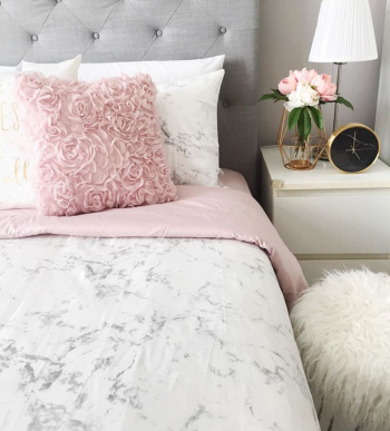 Marble Pink Quilt Cover Set (QUEEN)
