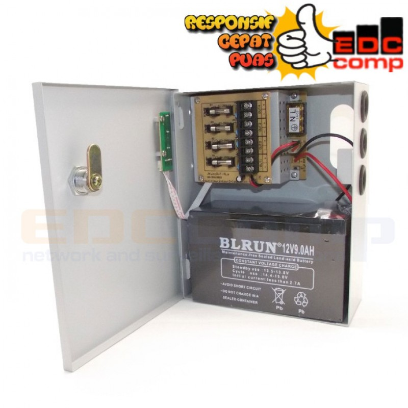 Switching Power Suply CCTV 12V 5A 4CH with Battery Backup