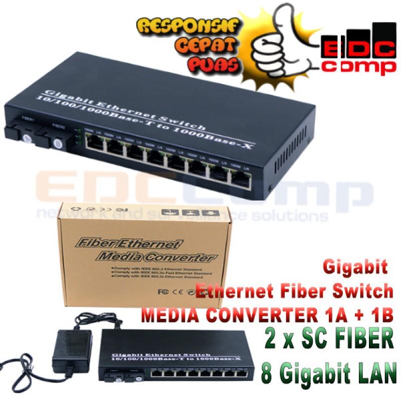 Ethernet Fiber Switch 2 SC 8 Gigabit /Media Converter Switch FO - EdcComp