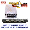 Paket POE Injector 16 Port 1U dan Power Suply 48V 12,5A MeanWell - EdcComp