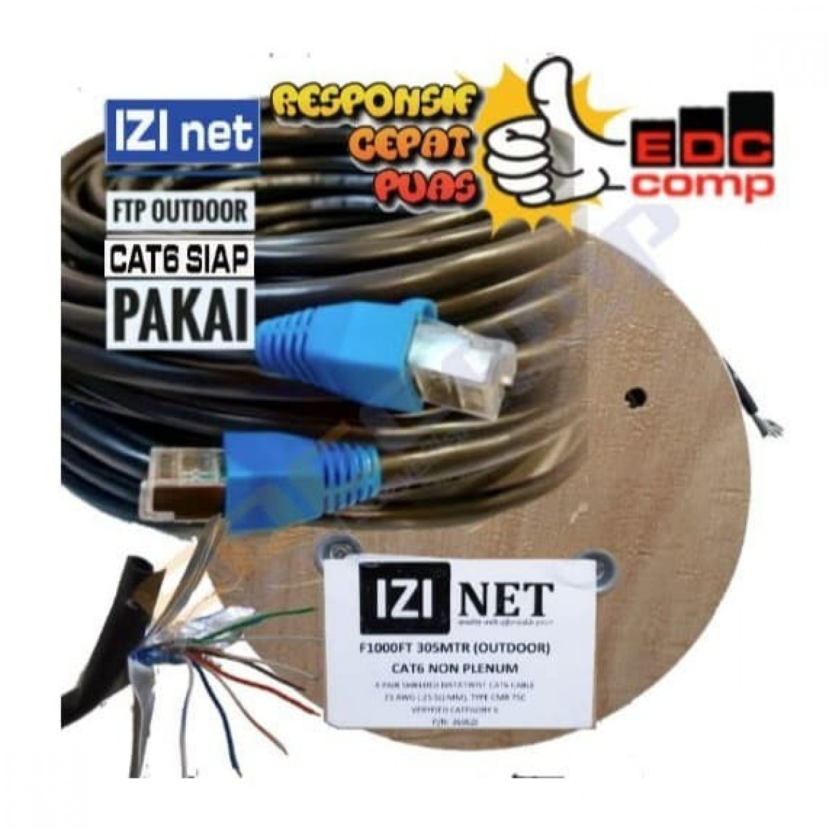 Cable STP/FTP Cat 5e Outdoor Cable 100 Meter IZI net Original - EdcComp