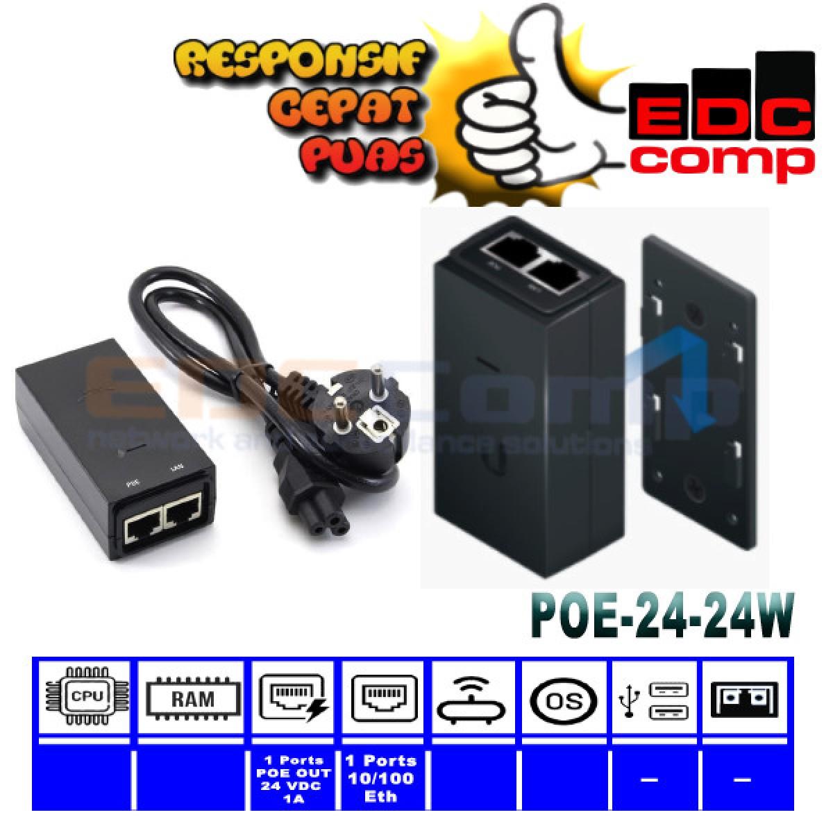 UBiQuiti PoE Adapter 24VDC-24W 1A - EdcComp
