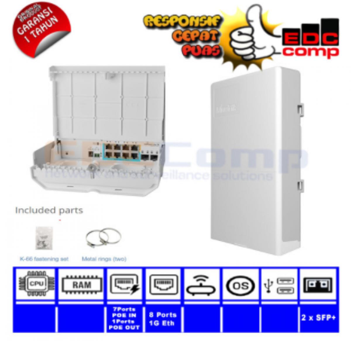 Mikrotik CSS610-1Gi-7R-2S+OUT netPower Lite 7R - EdcComp