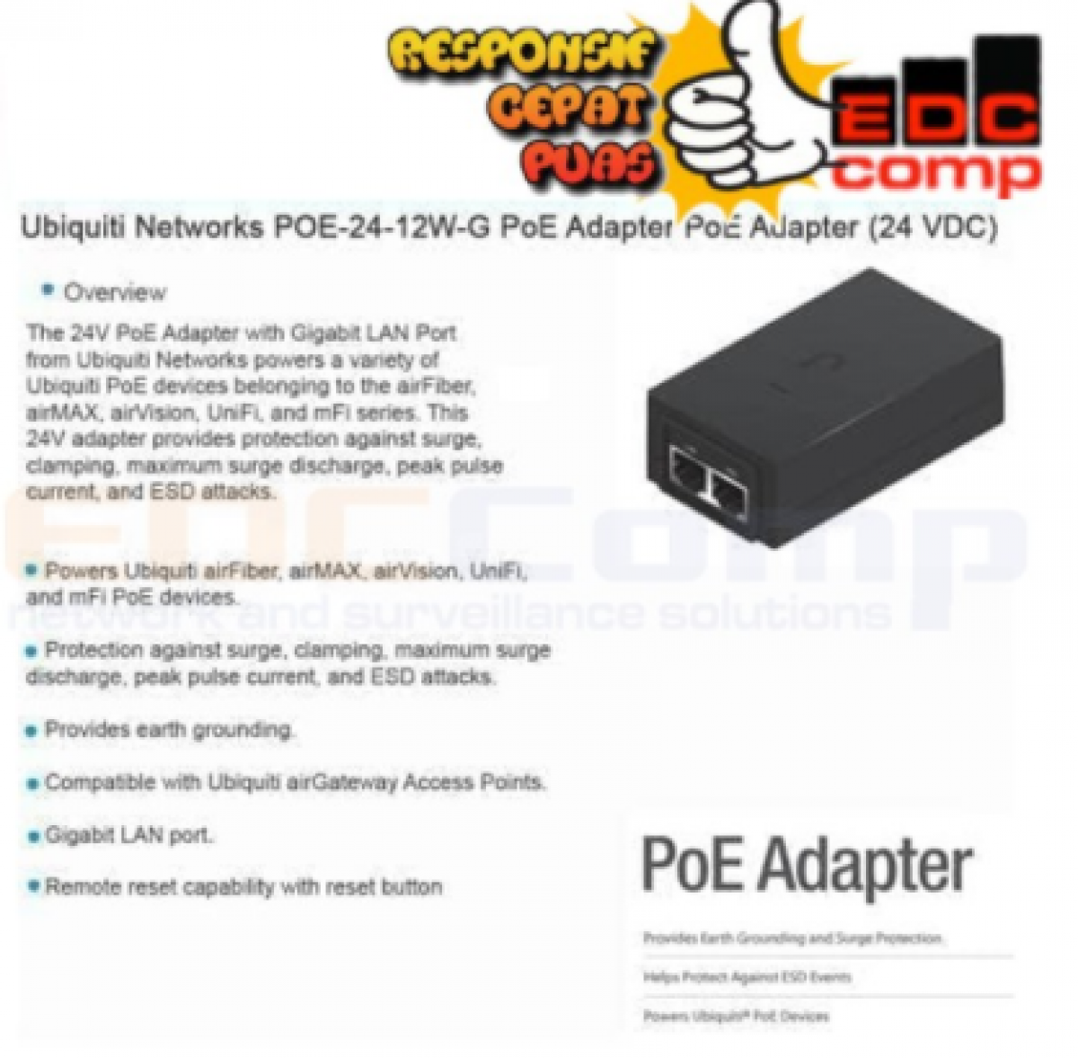UBNT POE-24-12W-G - UBNT Gigabit POE 24V 0.5A - EdcComp