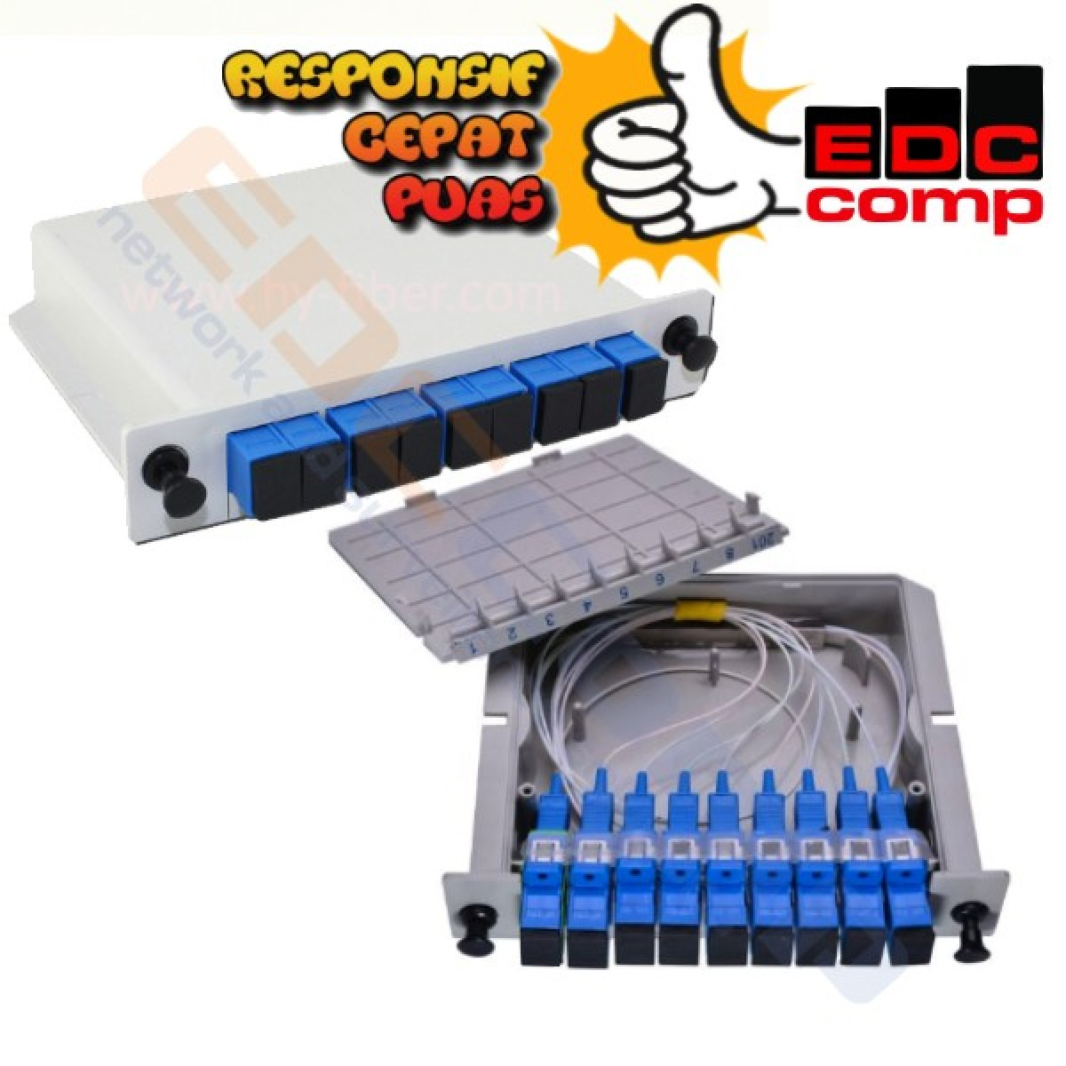 SC / UPC Fiber Optic Splitter Cassette Box 1:8 - EdcComp