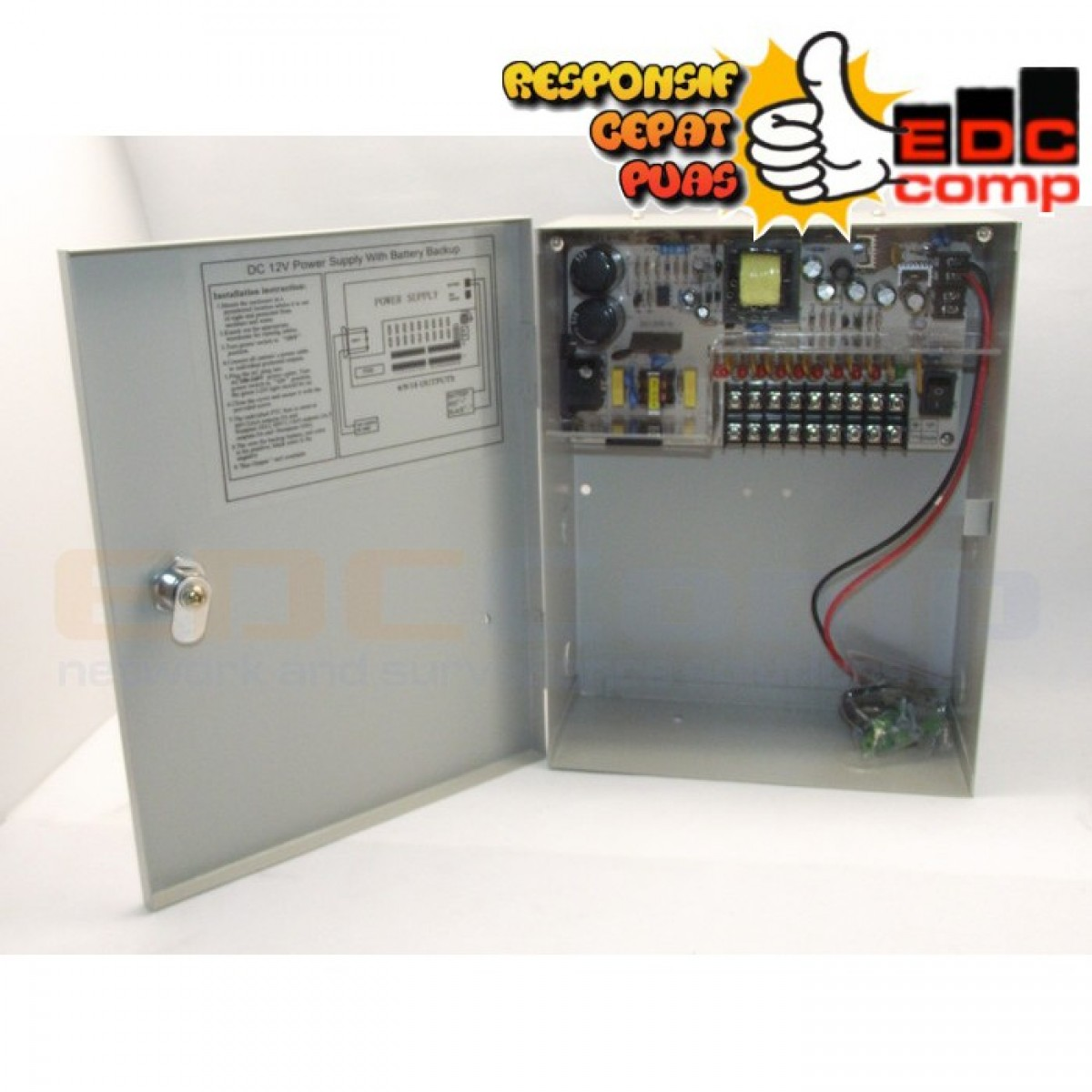 Switching Power Suply CCTV 12V 10A 8CH with Battery Backup - EdcComp