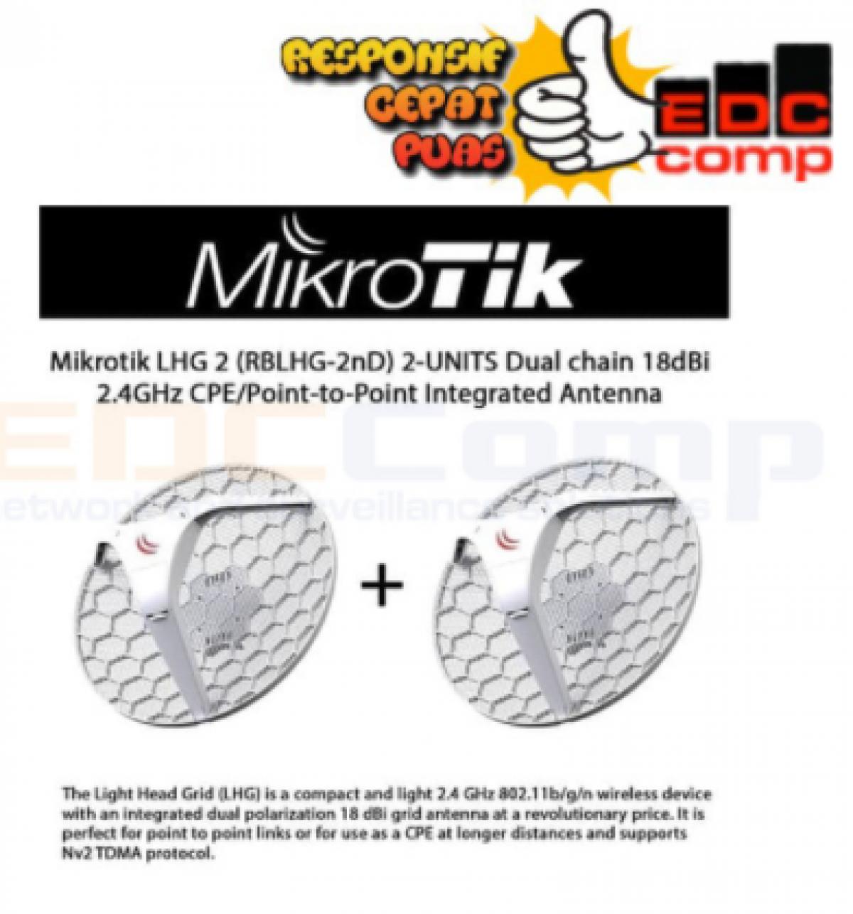 MIKROTIK RBLHG-2ND - ISI 2UNIT BERAT 5KG LEBIH HEMAT - EdcComp
