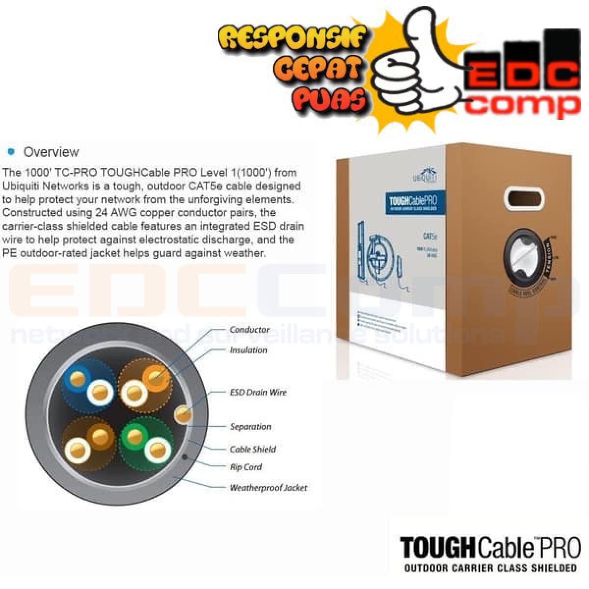 Ubiquiti TCPRO TOUGH Cable PRO Level 1 Outdoor CAT5e FTP (305m) - EdcComp