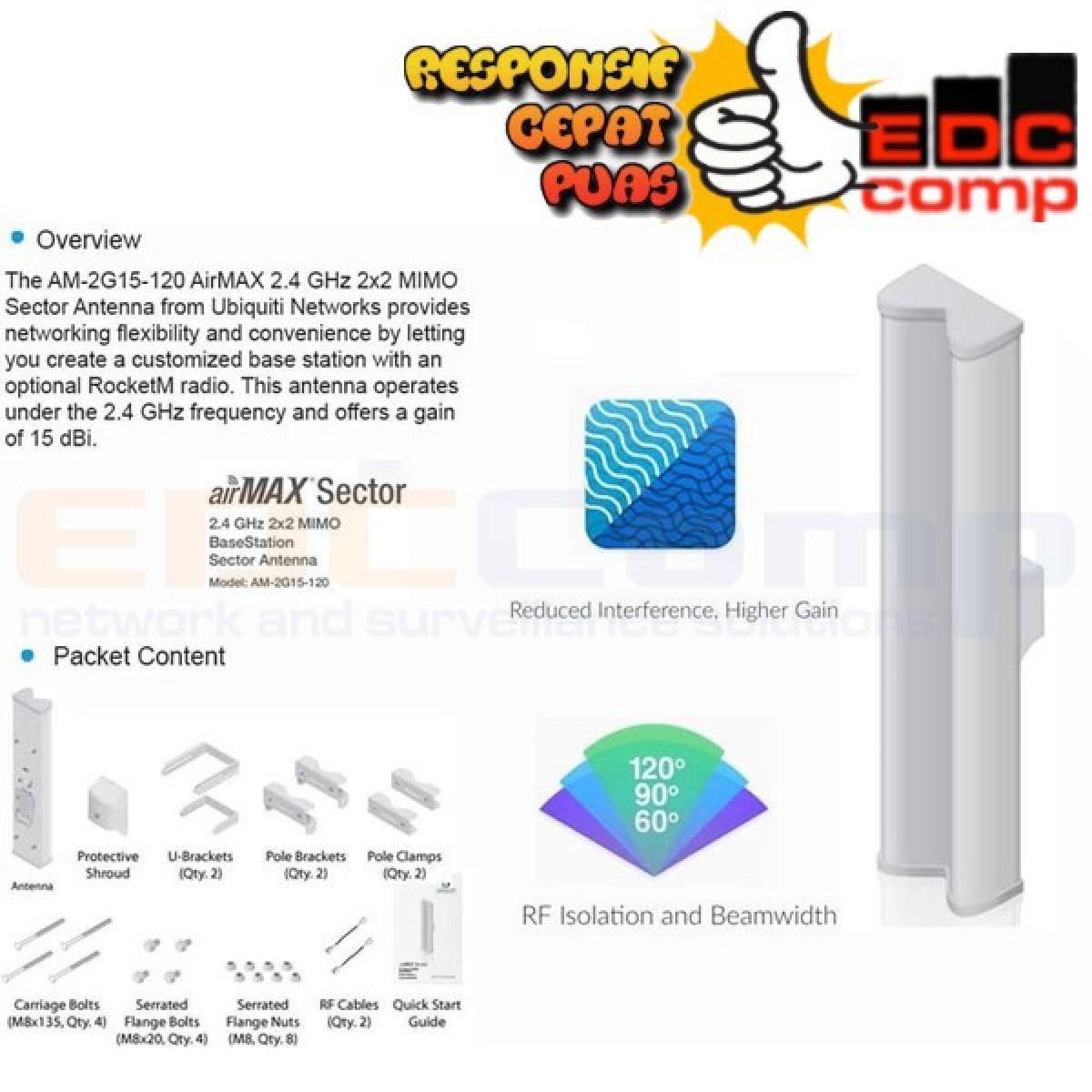 Antena Sectoral Airmax 2G15-120 (AM-2G15-120) Ubiquiti Networks - EdcComp