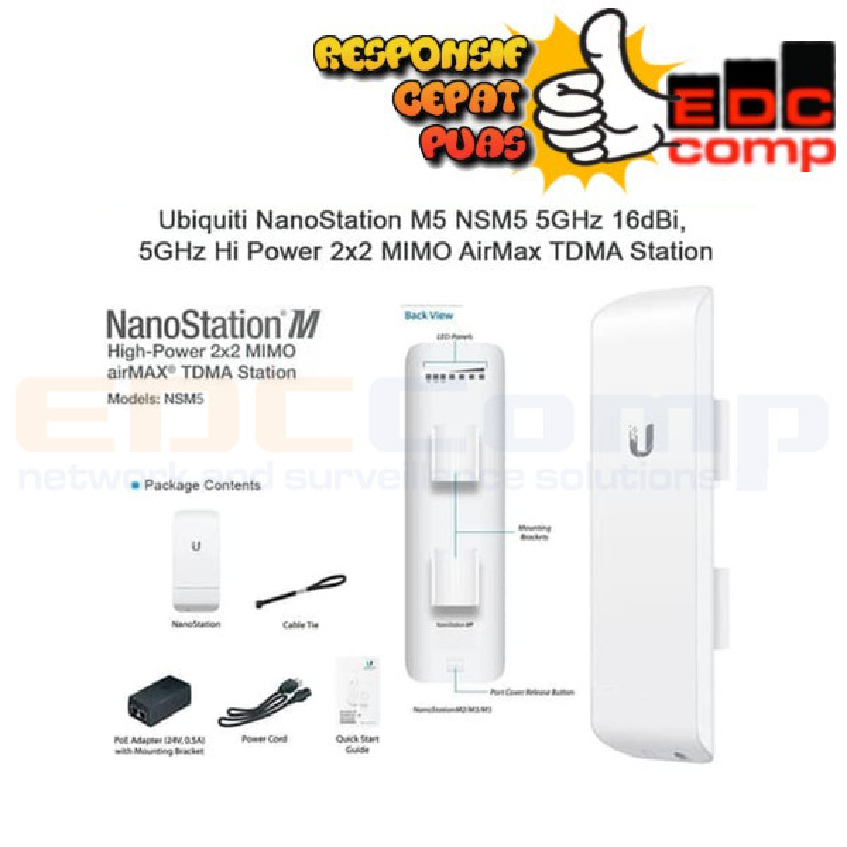 Ubiquiti Nanostation M5, NSM5, NS-M5, Nano Station M5 - EdcComp