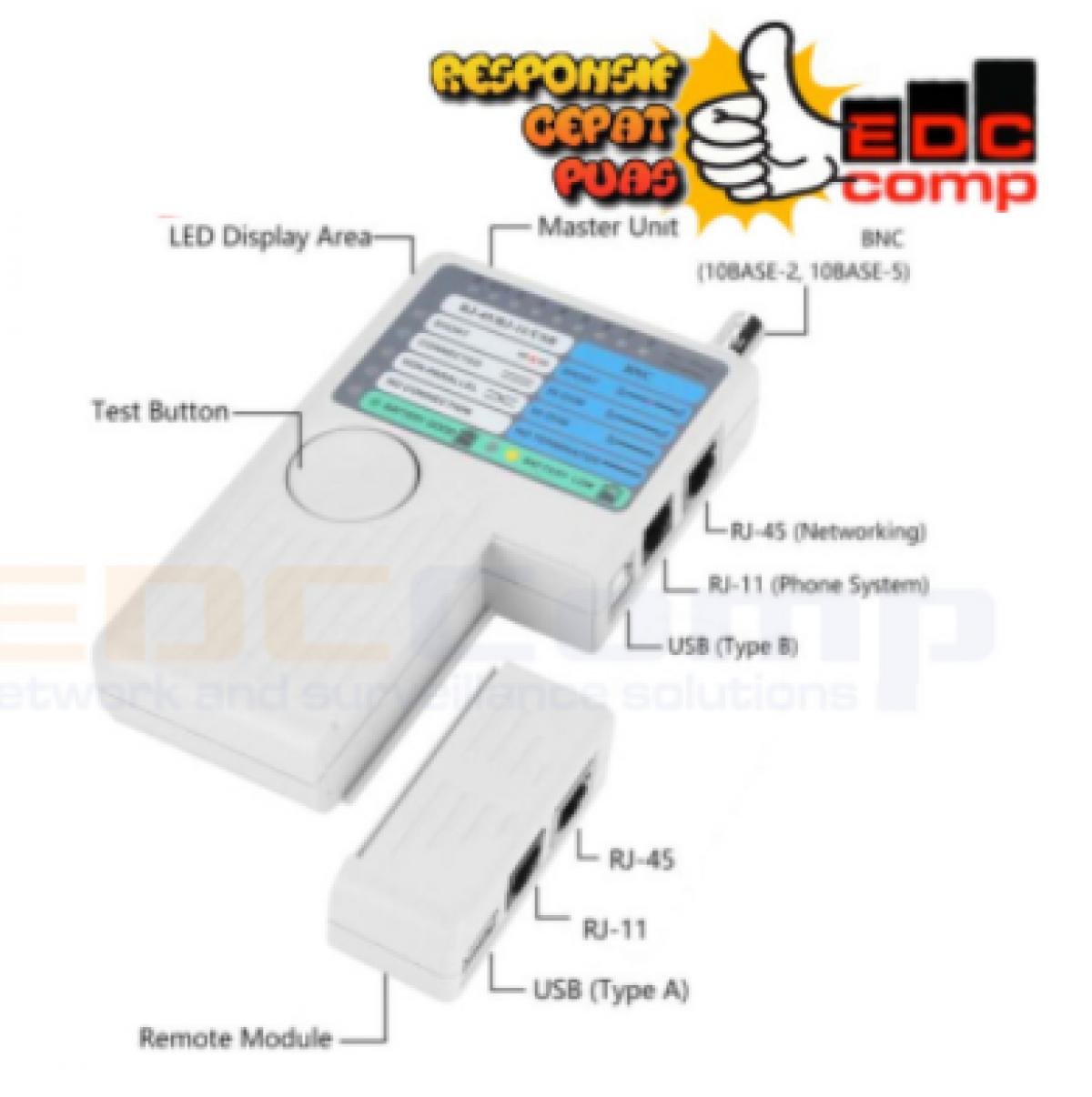 Remote Cable Tester 4in 1 Multi Lan Tester RJ45, RJ11, USB & BNC - EdcComp