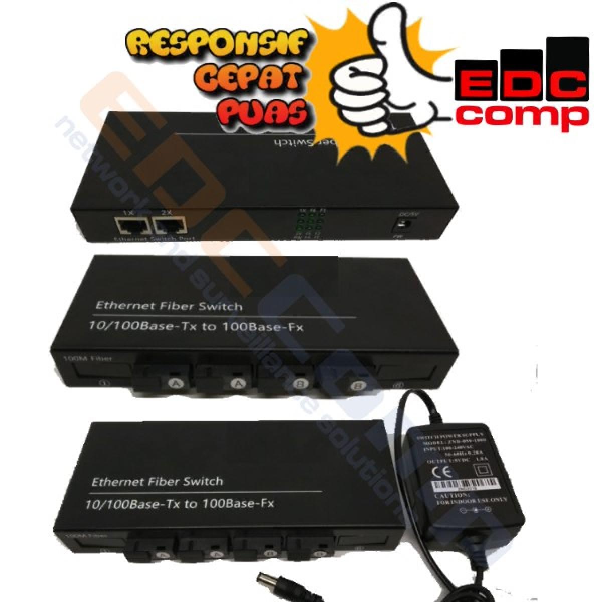 Ethernet Fiber Switch 4 SC 2 LAN /Media Converter Switch FO 4 SC - EdcComp