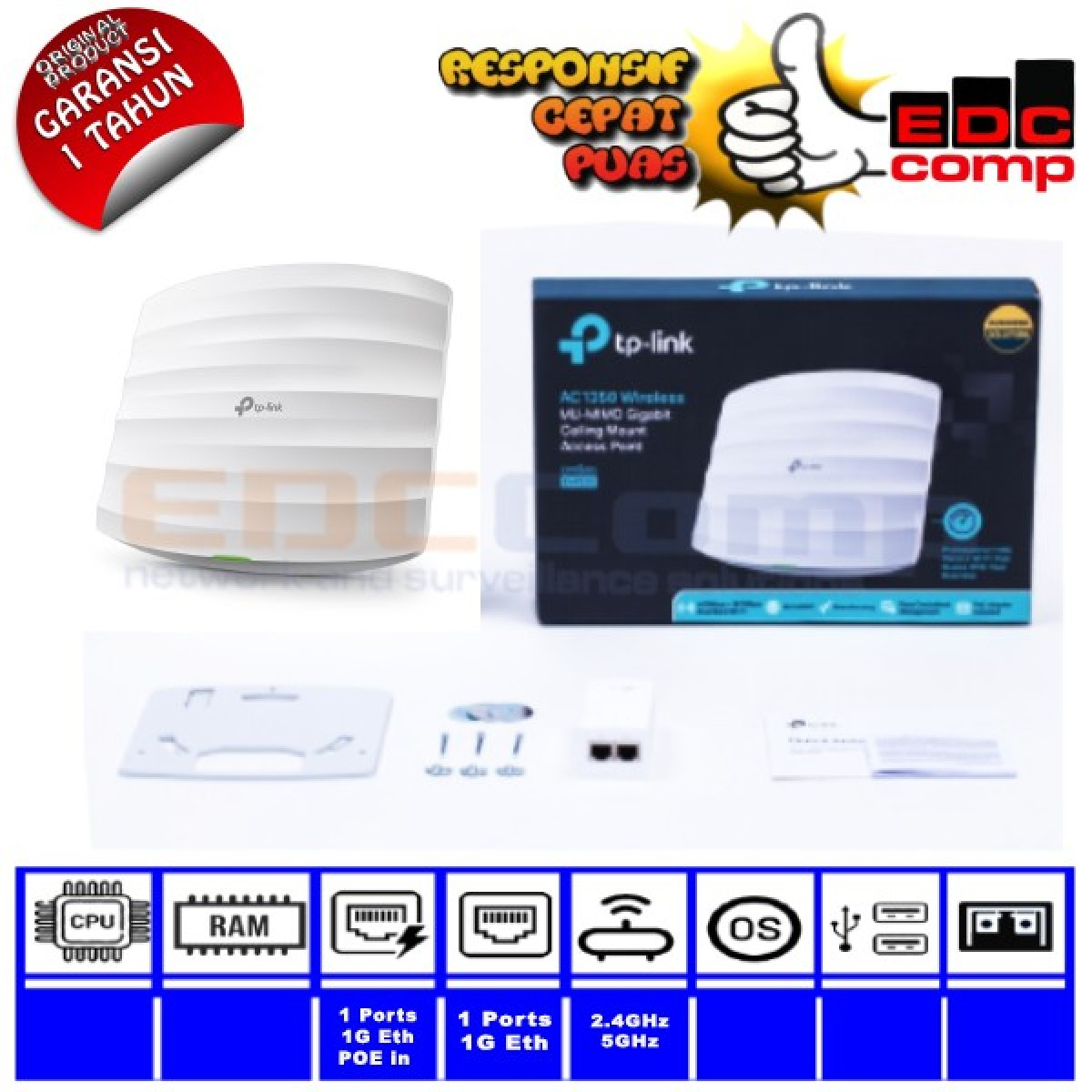 AC1350 Wireless MU-MIMO Gigabit Ceilling AP EAP225-Indoor TPLink - EdcComp