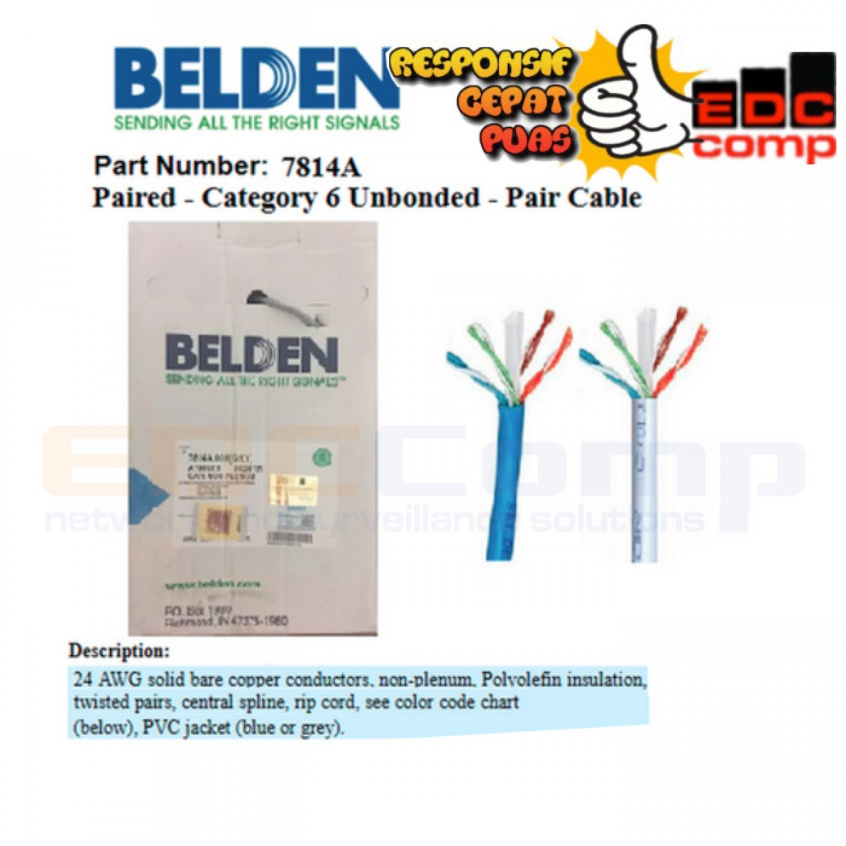 Cable UTP Cat.6 BELDEN 7814A Original Roll/Box/305M - Grey - EdcComp