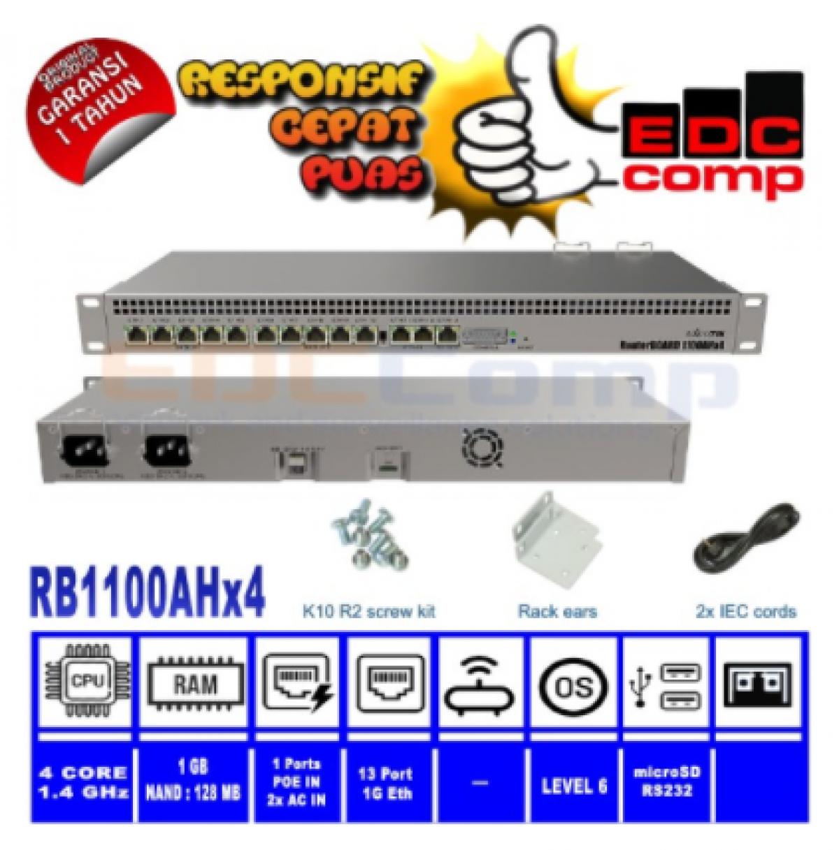 Mikrotik Router RB-1100X4 RB1100X4 RB1100AHx4 Rackmount - EdcComp