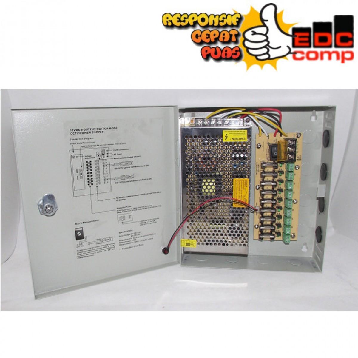 Switching Power Supply CCTV 12V 9CH - EdcComp