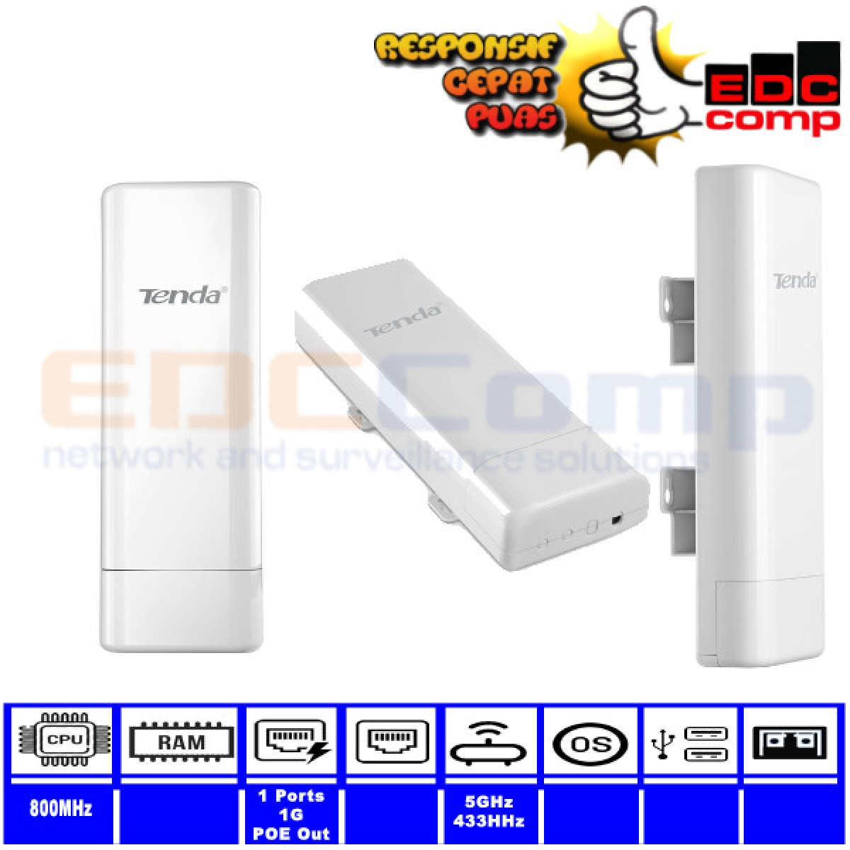 TENDA O6 5GHz 433Mbps Outdoor Point to Point CPE - EdcComp